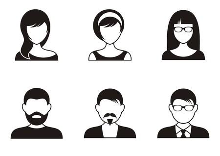 Ilustración de Men and women black icons on white background - Imagen libre de derechos