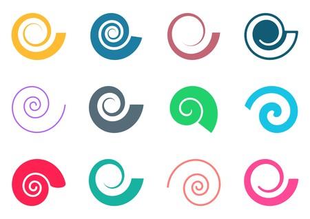 Ilustración de Set of colorful spiral icons on white background - Imagen libre de derechos