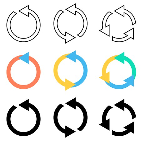 Illustration pour Vector circle arrows refresh reload recycle icons set - image libre de droit