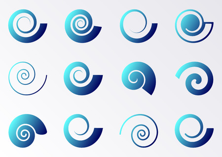 Ilustración de Blue gradient spiral icons on white background collection - Imagen libre de derechos