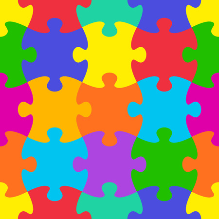 Photo for Colorful vector jigsaw puzzle seamless pattern - Royalty Free Image
