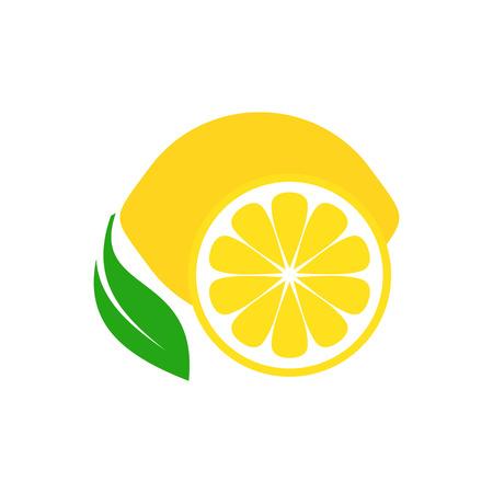 Ilustración de Colorful simple lemon fruit icon on white - Imagen libre de derechos