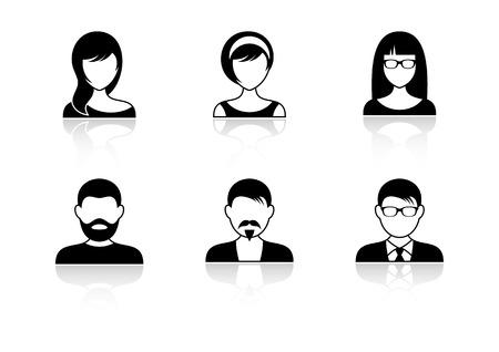 Illustration pour Men and women icons with shadows - image libre de droit