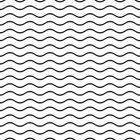 Ilustración de Black vector simple seamless wavy line pattern - Imagen libre de derechos