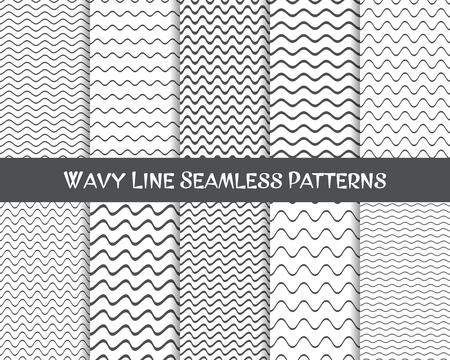 Ilustración de Vector wavy line seamless patterns gray and white - Imagen libre de derechos
