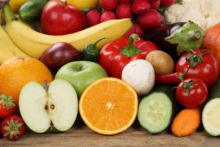 Healthy eating fruits and vegetables like apples and oranges