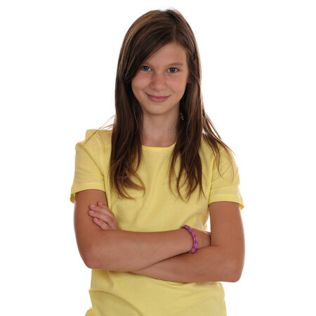 Photo for Young teenager girl portrait with folded arms, isolated on a white background - Royalty Free Image