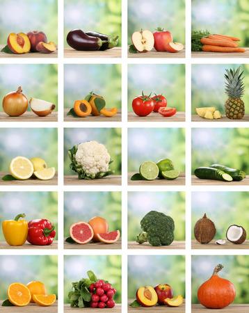 Set of fruits and vegetables like apple, orange, lemon and tomato