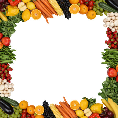 Frame from fruits and vegetables like apples and oranges isolated with copyspace