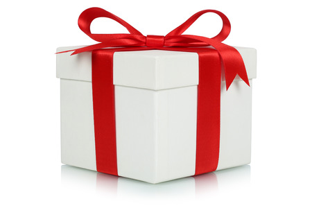 Foto de Gift box with bow for gifts on Christmas, birthday or Valentines day isolated on a white  - Imagen libre de derechos