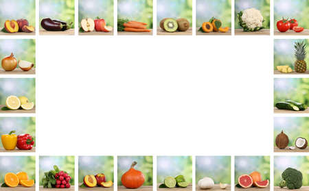 Set of fruits and vegetables like apple, orange, lemon and tomato with copy space