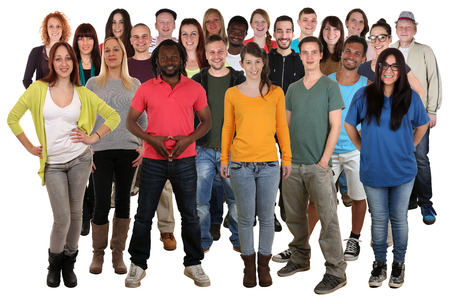 Foto de Large multi ethnic group of smiling young people isolated on a white background - Imagen libre de derechos