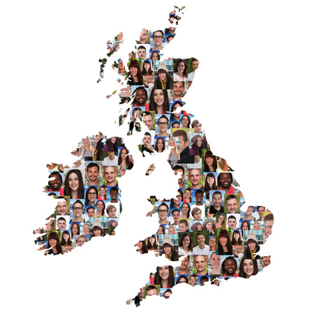 Photo pour Great Britain and Ireland map multicultural group of young people integration diversity isolated - image libre de droit