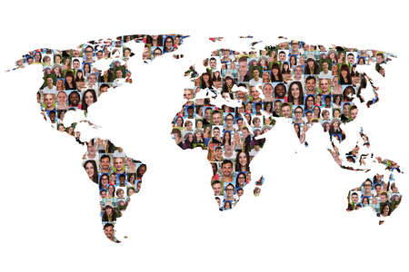 Photo pour World map earth multicultural group of people integration diversity isolated - image libre de droit