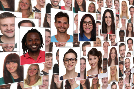 Photo for Background collage group portrait of young smile smiling people - Royalty Free Image