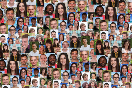 Foto de Background collage large group portrait of multiracial young smile smiling people social media - Imagen libre de derechos