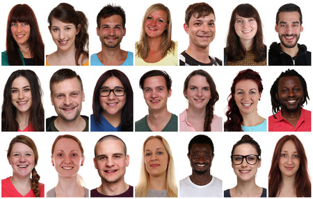 Collection group portrait of multiracial young smiling people isolated on a white background