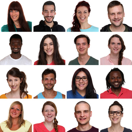 Set group portrait of multiracial young smiling people isolated on a white background