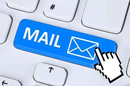 Foto de Sending E-Mail mail message on computer keyboard with letter symbol - Imagen libre de derechos
