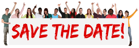 Foto de Save the date sign group of young multi ethnic people holding banner isolated - Imagen libre de derechos