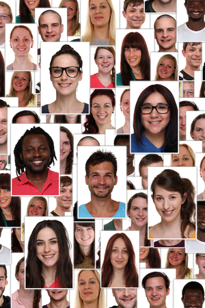 Background collage group portrait of multiracial young smiling happy people