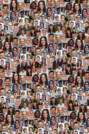 Photo for Background collage group of multiracial young people social media refugees immigration diversity - Royalty Free Image