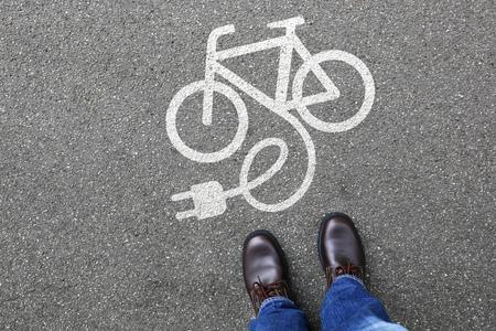 Foto de Man people E-Bike E Bike Ebike electric bike electro bicycle eco friendly transport - Imagen libre de derechos