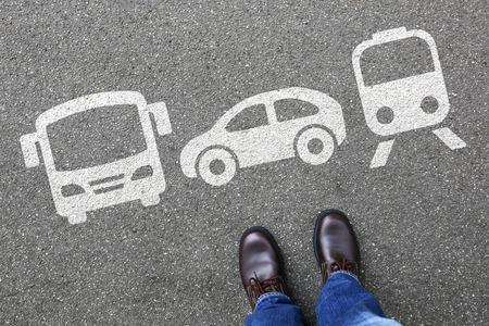 Foto de Car train bus choice man people choosing vehicle traffic city mobility transport - Imagen libre de derechos