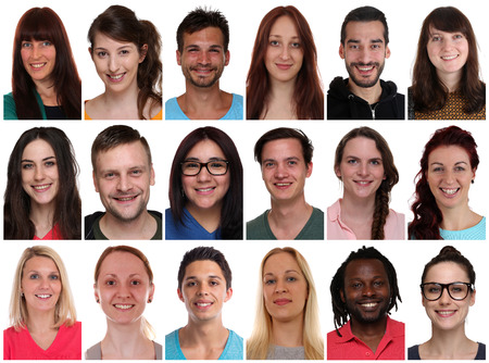 Collection group portraits of multiracial young smiling people isolated on a white background