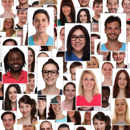 Group of multiracial young smiling smile happy people faces portrait background collage