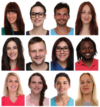 Collection group portraits of multiracial young smiling people faces isolated on a white background