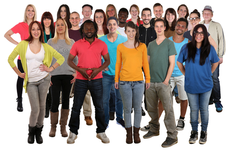 Foto de Large group of young smiling people standing isolated on a white background - Imagen libre de derechos