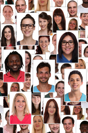 Group of multiracial young smiling happy people background collage refugees