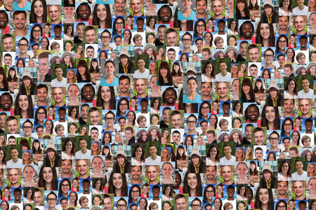 Foto de Young people background collage large group of smiling faces social media - Imagen libre de derechos