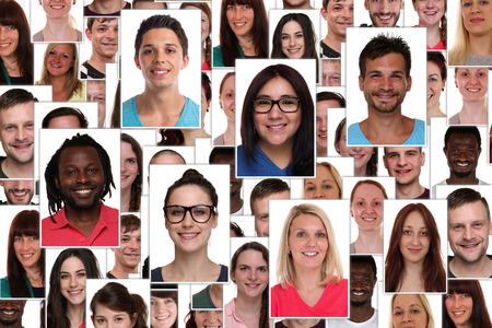 Background collage group of multiracial young smiling smile happy people portrait