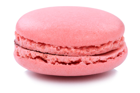 Foto de Strawberry macaron macaroon cookie dessert from France isolated on a white background - Imagen libre de derechos