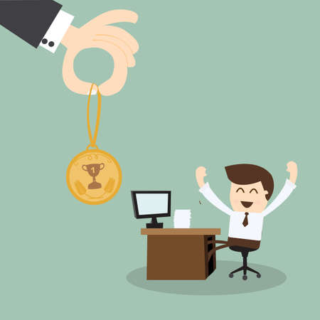 Illustration for Hand boss giving a reward for employees - Royalty Free Image
