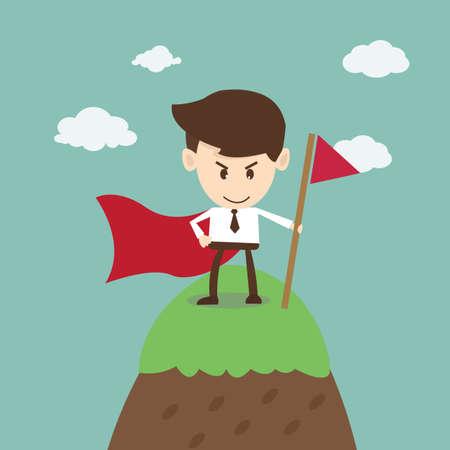Illustration pour Business Success,business man success on top of mountain - image libre de droit