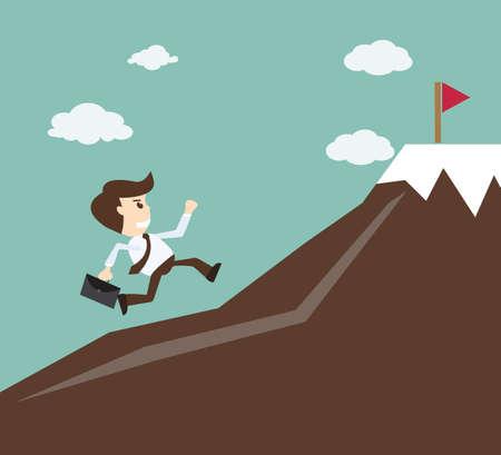 Illustration pour Commitment concept - Businessman climbing on the mountain - image libre de droit