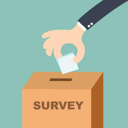 Illustration pour survey concept - hand putting voting paper in the ballot box  - image libre de droit