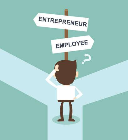 Illustration pour change career directions employee entrepreneur street direction sign - image libre de droit