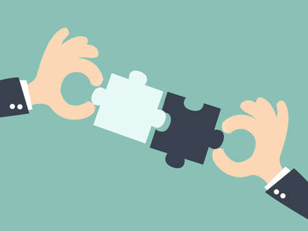 Illustration pour business  matching - connecting puzzle elements - image libre de droit