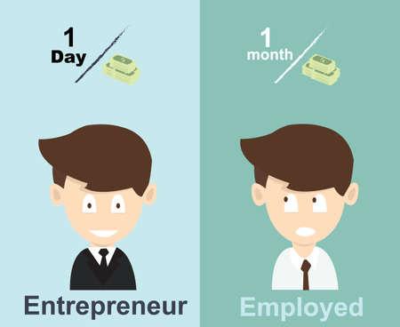 Illustration pour employed vs entrepreneur income - image libre de droit