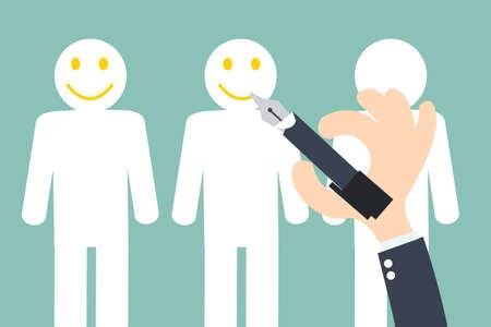 Ilustración de Hand writing Smiley on the Customer  - Customer Retention - Imagen libre de derechos