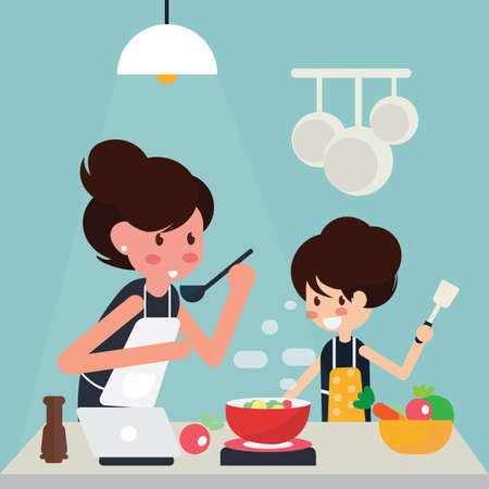 Illustration pour Mother and girl cooking at home together. Vector illustration - image libre de droit