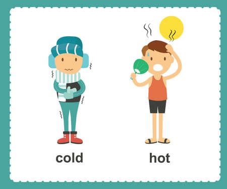 Ilustración de Opposite English Words cold and hot vector illustration - Imagen libre de derechos