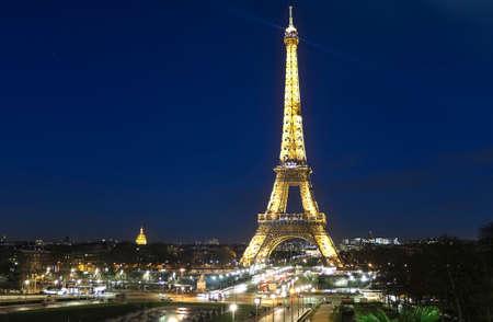 Photo pour Eiffel Tower on Champs de Mars in Paris, France at the evening - image libre de droit
