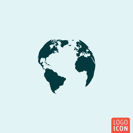 Illustration for Earth globe icon. Earth globe icon. Earth globe logo. Earth globe symbol. Earth globe image. Minimal icon design. Vector illustration. - Royalty Free Image