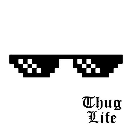 Illustration pour Pixel glasses isolated on white background. Thug life meme glasses. Vector illustration. - image libre de droit
