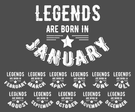 Ilustración de Legends are born vintage t-shirt stamp - Imagen libre de derechos